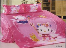 Pink hello kitty comforter bedding set single twin size quilt duvet cover sheet cotton 400TC Children's girls baby bedroom decor