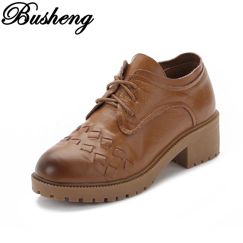 BUSHENG 2017 Spring Women Oxfords Lace Up Flats Platform Shoes Genuine Leather Woman Casual Womens Shoes Brogue Shoes Woman<br><br>Aliexpress