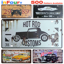 Hot Rod Car Metal License Plate Vintage Home Decor Tin Sign Bar Pub Decorative Metal Sign Art Painting Metal Plaque