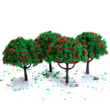 20PCS 2.7 Inch Green Train Set 1/100 Scenery Landscape Plastic Model Tree Handcrafted with Red Flowers Tree Model Dolls Decor(China)