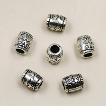 5*8mm 10pcs/lot Ancient Silver Charms Pendant Big Hole Beads For Jewelry Making Bracelets Necklace DIY(China)