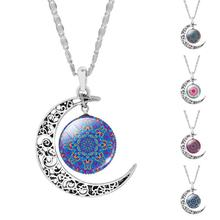Mandala Flower OM Symbol Buddhism Zen Picture Glass Cabochon Choker Moon Pendant Necklace Silver Color Jewelry(China)
