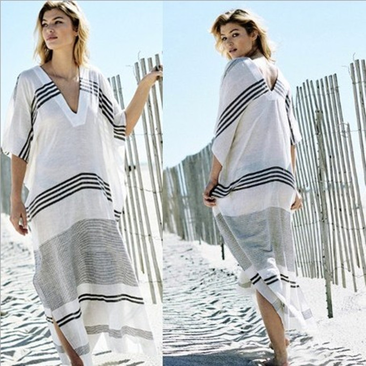 Beach-Dress Swimsuit-Cover Bikinis Ended-Skirt Cotton Women Striped for Female Pareo title=