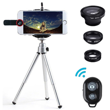 Mobile phone Lenses Fish Eye For The Phone Lens Fisheye 3in1 with Self Timer tripod for iphone 6 universal new camera wide macro