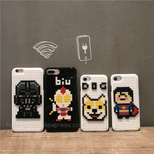Lovely cartoon puppy DIY Legos toy Blocks Brick plastic phone Case for IPhone 6 6S 6plus 7 Plus Cartoon character Cover(China)