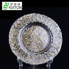 Retro pattern plates creative fruit dried candy cake glass plate bowl pattern snacks Hotel Restaurant wedding Dishes & Plates(China)
