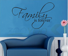 ^ Family Is Forever home decor English quote wall sticker bedroom kids living room decorative adesivo de parede removable vinyl(China)