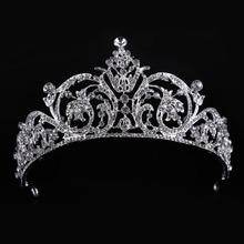 High Quality Crystal Glass Fashion Tiara Crown Woman Hair Jewelry Romantic Wedding Crown Hairwear Bride Accessories CY161117-136