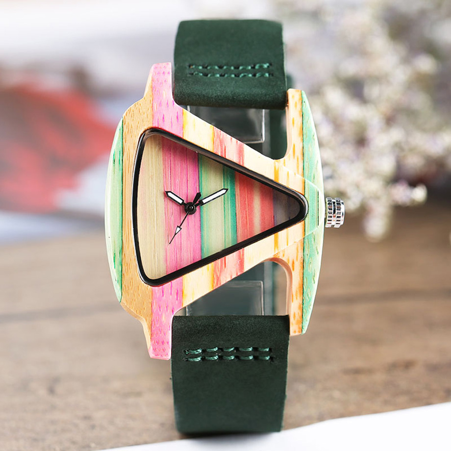 Creative Women Wood Watches Unique Colorful Wooden Triangle Hollow Quartz Wristwatch Ladies Elegant Fashion Genuine Leather Hour (7)