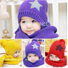 Baby Cap Children warm Hat+Scarf Five Star Two Piece Set Toddler Boys & Girls Hats Winter Gift,baby scarf knitting pattern(China)