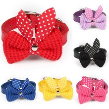 cute knit bow adjustable leather necklace puppy collars cat collars leads collars XS-M free shipping