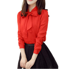 fashion new women Loose casual BOW collar chiffon solid long sleeve ladies' shirts Feminina Tops Plus Size 3XL(China)