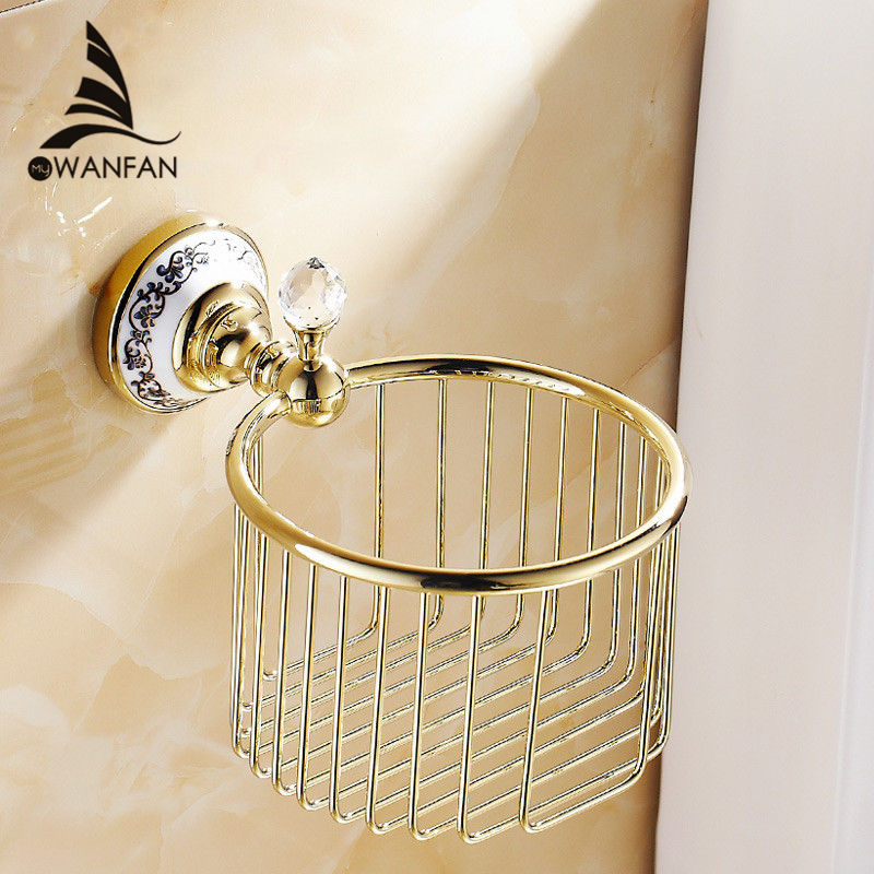 Wall Mounted chrome Crystal Brass Finish Bathroom Accessories Toilet Paper Holder sets printing toilet roll holder 6313<br><br>Aliexpress