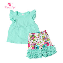 Kaiya Angel 2017 Baby Girls Boutique Clothing Kids Clothes Summer Short Outfits Boutique Toddler Girl Set Short Sleeve Suit
