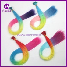 FREE SHIPPING 22inch 55cm 1g rainbow color synthetic I tip hair extensions mciro ring i tip hair ombre color beautiful for party