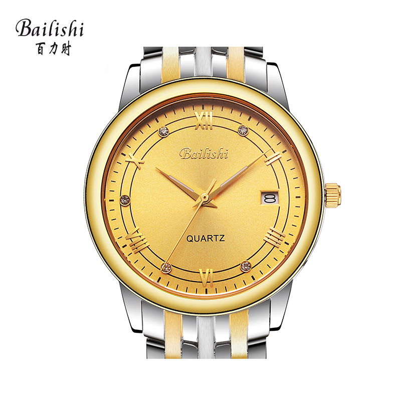 BAILISHI quartz watch gold business men watches brand wristwatch stainless steel relogio masculino Waterproof watches<br>
