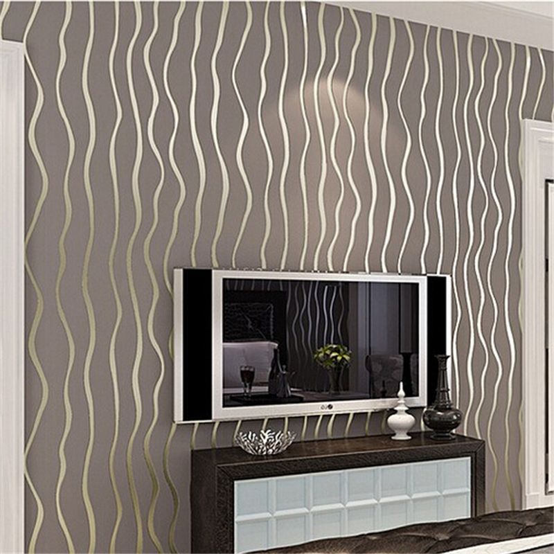 beibehang High quality Modern luxury Flocking Vertical Stripes Wallpaper For living room bedroom background wall Grey coffee<br>