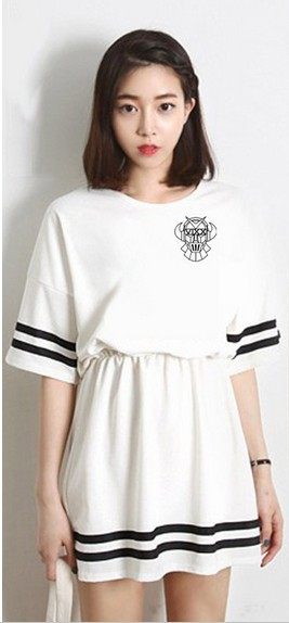 New brand Vixx women's dress vixx girl's elastic waist member name print casual dress korean style hongbin hyuk leo ravi dress(China (Mainland))