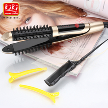 KIKI.2 in 1 HAIR Straightener and Hair curling Iron.Universal voltage.With lock system.With prevent scalding comb.Hair Iron comb(China)
