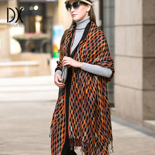 Winter luxury Brand Plaid Cashmere Scarf Women Oversized Blanket Scarf Wrap long Wool Scarf Women Pashmina Shawls and Scarves(China)