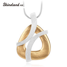 Shineland Unique Punk Women Gold Silver Color Handmade Drawing Brushed Geometric Hollow Pendant Necklace Long Statement Bijoux(China)