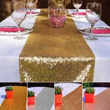 Luxury Gold Sequin Table Runner Wedding Party Table Decoration Solid Color Gold Table Runners 30 x 180cm/30 * 275cm