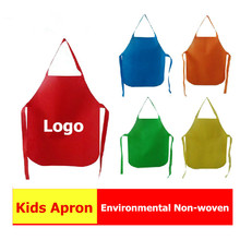 PP Non Woven Kitchen Adult Print DIY Painting Aprons Disposable Aprons Cartoon Printed Logo Cooking Apron custom logo eco Aprons