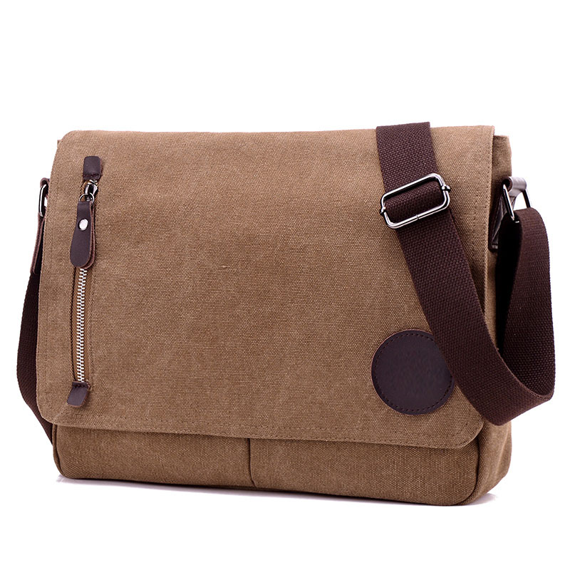 canvas laptop bag in brown