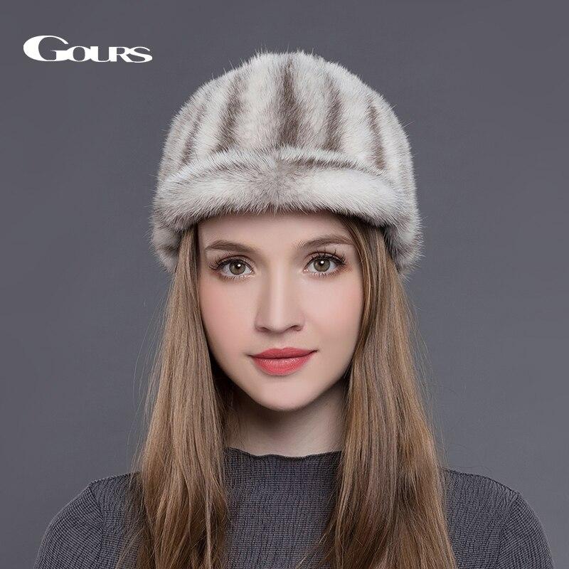 Gours Natural Mink Fur Hats for Women Winter Warm Fashion Luxurious Brand Ladies High Quality Visors Caps Black New ArrivalÎäåæäà è àêñåññóàðû<br><br>