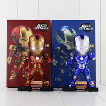 6''15cm 2Styles American Marvel Movie Iron Man Figure Q Version Iron Man with LED Light Cool Doll Ace Affack Model