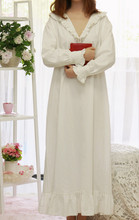 Women SLeepwear Cotton Nightgown Casual Sleepwear Ladies Royal Vintage Night wear White Nightdress Comfortable clothes for bed(China)