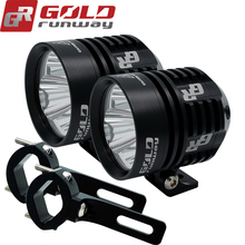 2X30W USA LED Driving Lights Round Headlight Motorcycle Spot Beam Work Light Motorbike Auxiliary Lights IP68 +Engine Guard clamp