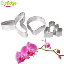 Delidge 3 pcs Phalaenopsis Three - Piece Biscuit Mold  DIV Production Enjoy Hands-on fun  Cake Decorating Tools