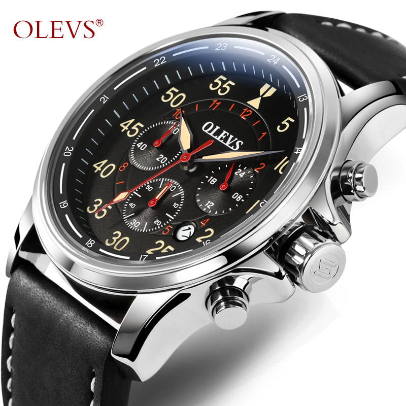 OLEVS Luxury Military Quartz Watch For Men Big Dial Leather Strap Chronograph Date Waterproof Sport Aviator Wristwatch 6868<br>