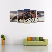 5 Panels Horses Canvas Paintings Three Fine Horses Running Animal Picture Prints Wall Art with Wooden Frame For Home Decoration(China)
