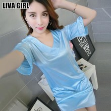 Liva Girl Hot Selling Lady Comfy Faux Silk Women's Sleepshirts Nightgown V-Neck Lady Sexy Nightdress Female Casual Sleepwear(China)