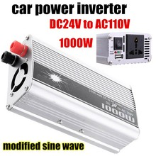 New Portable 1000W Car Auto Voltage Power Inverter DC 24V to AC 110V Charger Converter Transformer With Cigaratte Plug Cable(China)