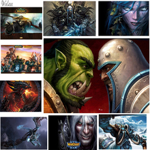 WOW World of Warcraft Game Poster Wall Sticke Lich King Nerzul Durotan Darius Internet Bar Boy Room Decor Retro Picture Posters