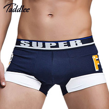 Taddlee Brand Sexy Men Underwear Boxer Shorts Trunks Cotton Mens Underwear Boxers Penis Pouch WJ U Convex Man Underpants Waist(China)