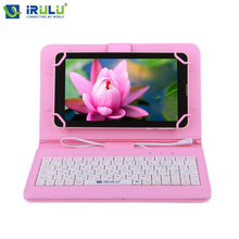 "iRULU Brand New Arrival RUSSIAN KEYBOARD Tablet Case For 7"" Tablet PC People Leather With Micro USB Keyboard Case Light Weight"