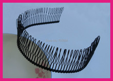 6PCS Black Full Teeth Plain Metal Comb Hair Headbands with 80 piece 37mm high teeth,BARGAIN for BULK(China)