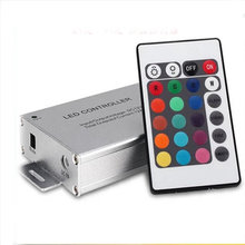 DC 12V 24V 24 keys Alluminum RGB LED Dimmer Wireless IR Remote Controller For Led strip Light(China)