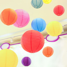 20pcs/Lot 8'' 20cm Round Chinese Lantern Mutil Color White Paper Lanterns for Wedding Party Decoration Birthday Decor Mix Color(China)