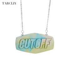 TARCLIY Handmade Geometric Name Necklaces & Pendants Personalized Neon Color Letter Exaggerated Necklace For Women Jewelry 2017(China)