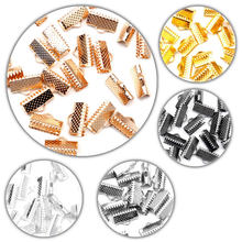 100pcs 8mm Textured End Caps Crimp Beads Cord Flat Cover Clasps Clip Foldover Fit Jewelry Necklace Connectors DIY Accessories(China)