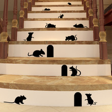 Funny Mouse hole wall stickers creative rat hole cartoon wall stickers bedroom living room mice on Stage wall Decals