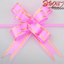 10 PCS Wedding Garland With Golden edge 2.3cm width Pull Bows Ribbon Hand Flower Gift Car Decoration Packing Wrap S2