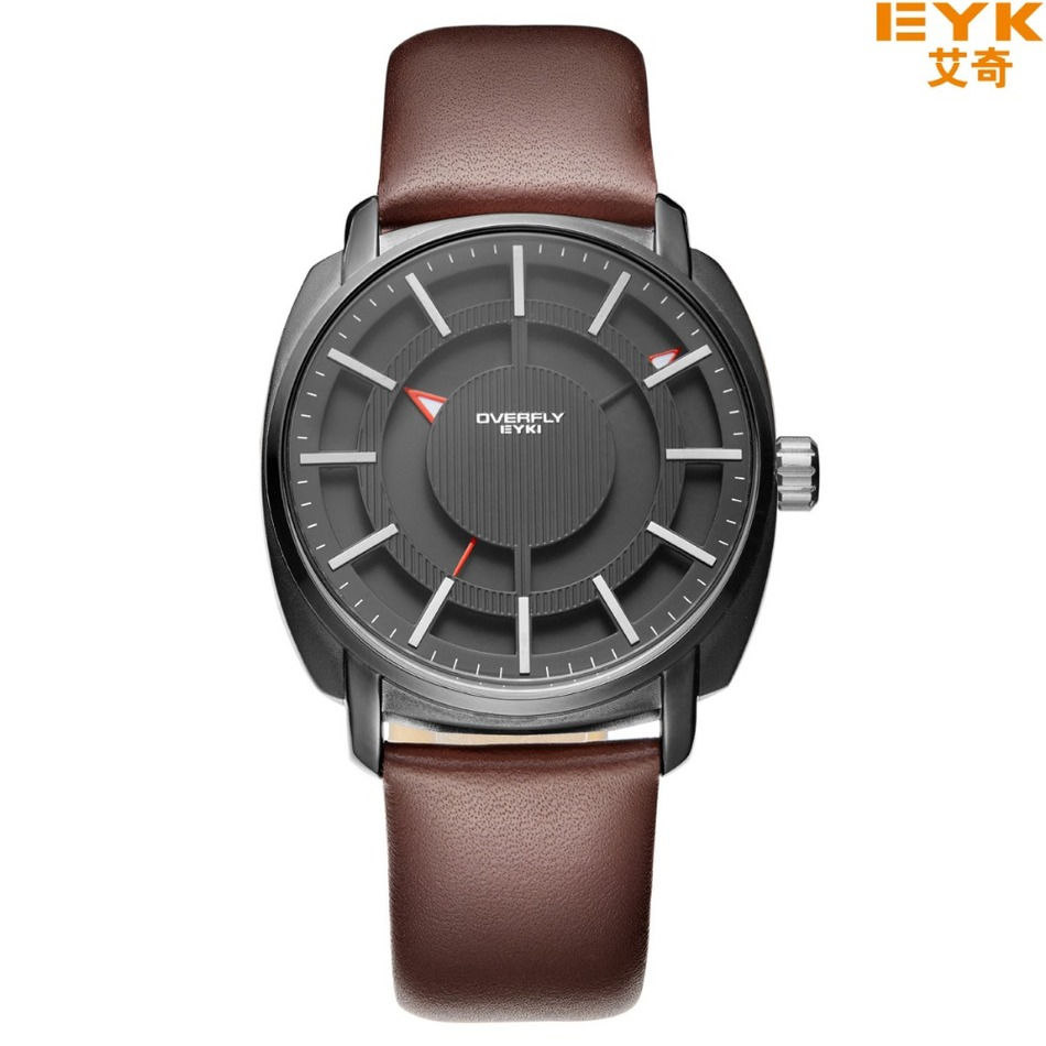 EYKI Brand Sport Watch Red Special Date Classic Crown Design Leather Band Male Military Waterproof Quartz Mens Watches / 3063<br><br>Aliexpress