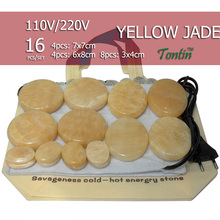 NEW Tontin 16pcs/set yellow jade body massage hot stone beauty salon SPA tool with heating bag 110V or 220V ysgyp-nls(China)