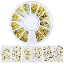 Gold Plated Copper Nail Studs Wheel Mixed Designs Nail Tips Decorations Women Nail Art Studs Jewelry Accessories WY595